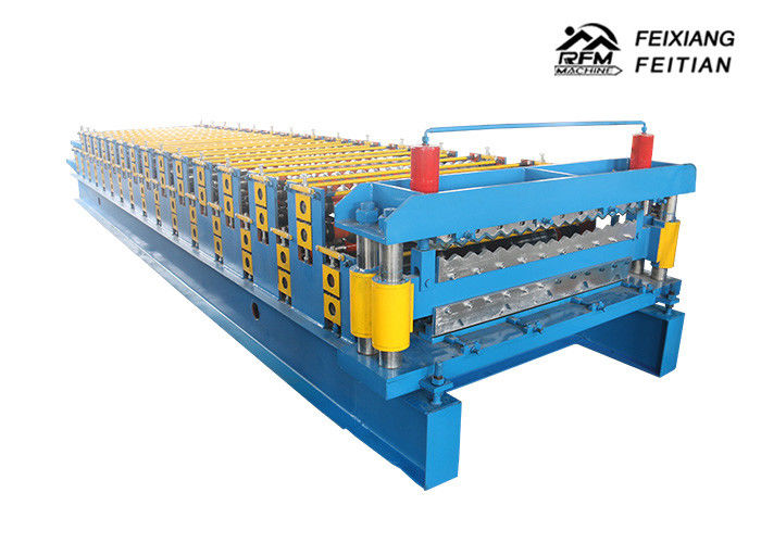 Blue Corrugated Roofing Sheets Making Machines 8 - 12m/Min Working Speed